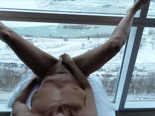 """HOT AMATEUR WIFE FUCKING LARGE DILDO ON WINDOW ABOVE THE """"""""FALLS"""""""""""