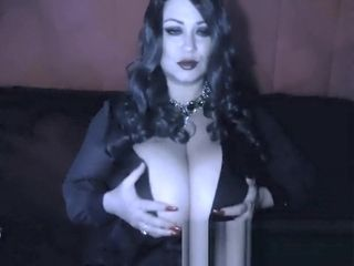 Meaty-boobed Witch Samantha 38g costume play on live webcam display archive showcasing meaty titty