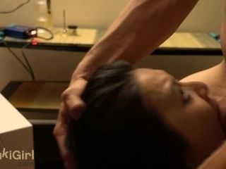 Asian wifey gargle and FACEFUCK on her knees @Sukisukigirl
