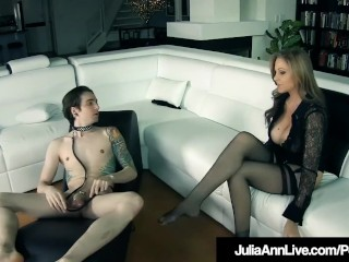 Female dominance cougar Julia Ann Orders tethered dude fucktoy To gobble Her Out!