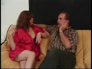 Aged redhead gives two guys a blow job then gets screwed