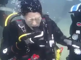 Sissified diver who becomes copperplate petit frighten