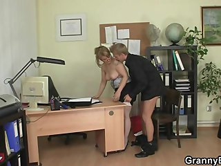 He bangs horny office lady