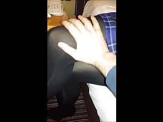Stroking wife's crossed legs