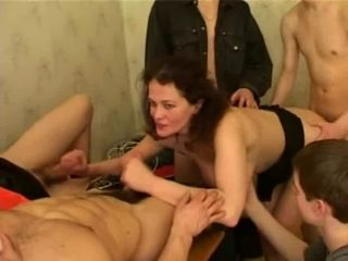 Mature French bitch gangbanged by young French guys