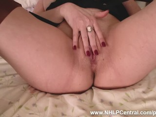 Steamy cougar Karina Currie fake penises plaything to climax in pantyhose and suspenders