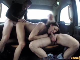 A nasty wifey Cassie loves three-way hookup in cab. 2 sausages are nicer than one.